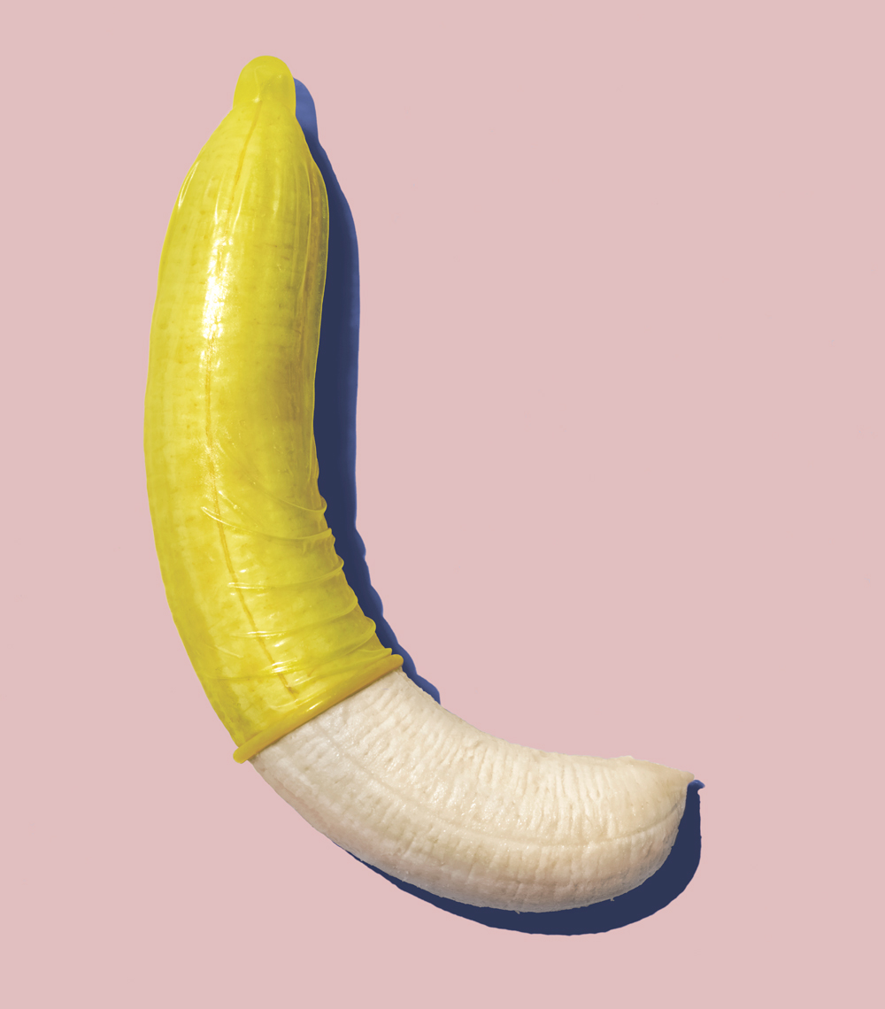 Condom on Bananas Still Life