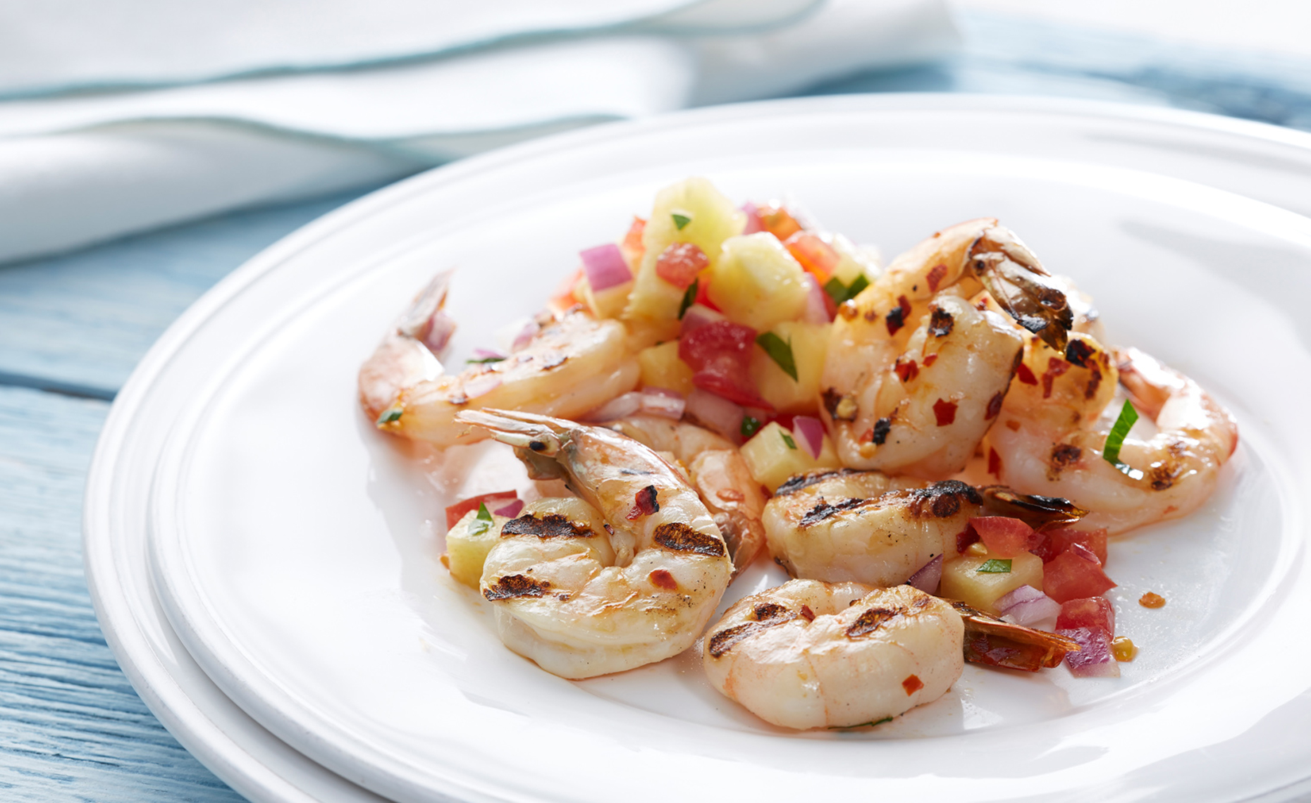 Spicy Grilled Shrimp with Pineapple Salsa