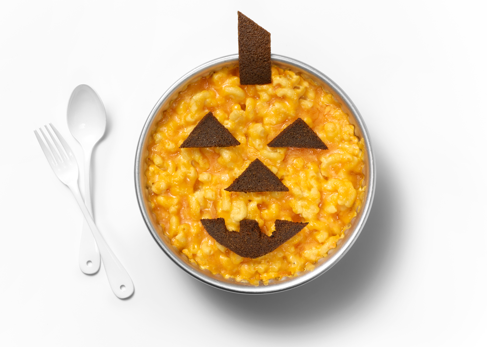 Mac and Cheese Jack-O-Lantern Still Life
